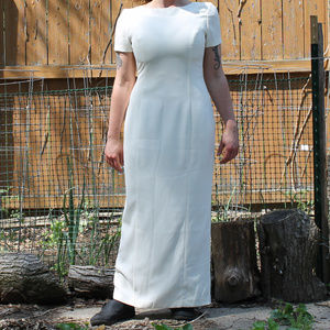 Vintage Off White Maxi Dress, open back with bow